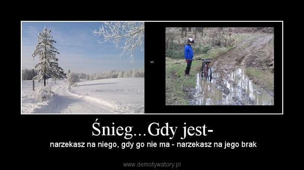 Śnieg...Gdy jest- –  narzekasz na niego, gdy go nie ma - narzekasz na jego brak