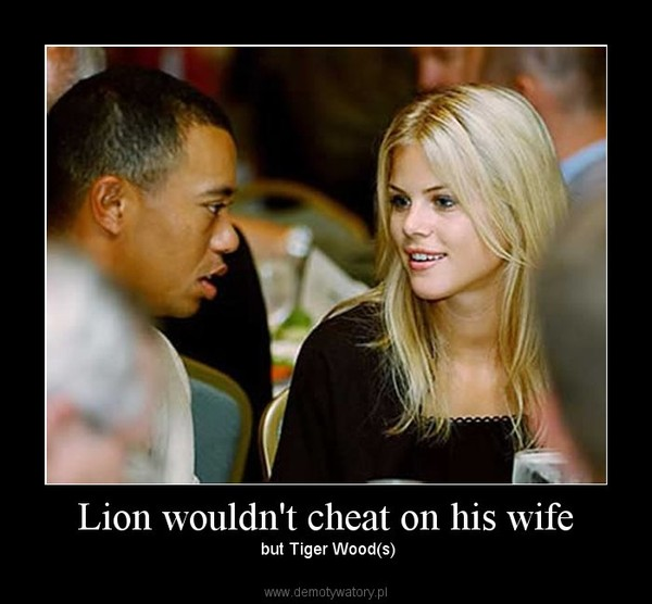 Lion wouldn't cheat on his wife –  but Tiger Wood(s)