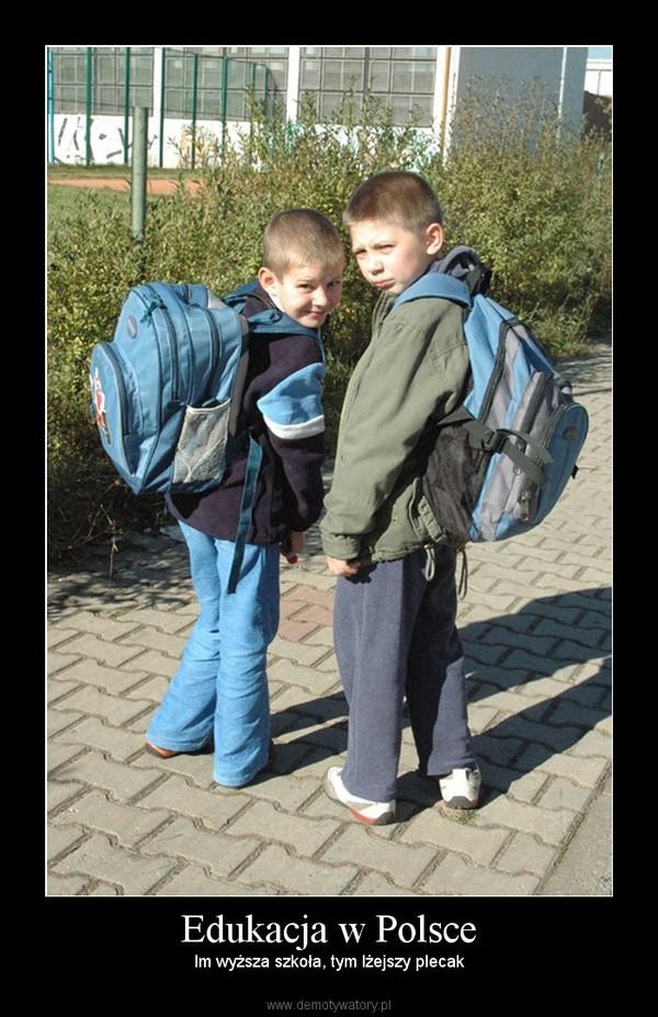 Edukacja w Polsce – Im wyższa szkoła, tym lżejszy plecak