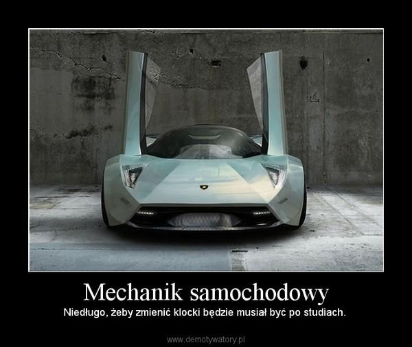 Mechanik samochodowy – Niedługo, żeby zmienić klocki będzie musiał być po studiach.