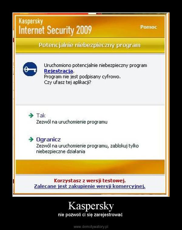 Kaspersky – nie pozwoli ci się zarejestrować