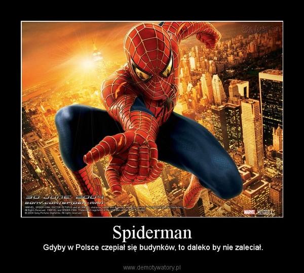 Spiderman – Gdyby w Polsce czepiał się budynków, to daleko by nie zaleciał.