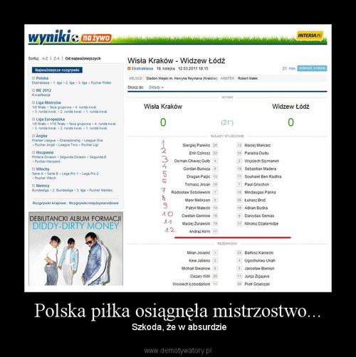 Polska piłka osiągnęła mistrzostwo...