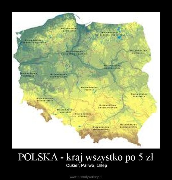 POLSKA - kraj wszystko po 5 zł – Cukier, Paliwo, chlep