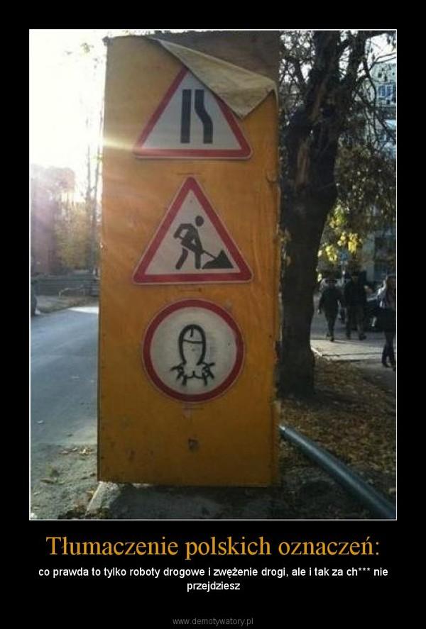 Tłumaczenie polskich oznaczeń: – co prawda to tylko roboty drogowe i zwężenie drogi, ale i tak za ch*** nie przejdziesz