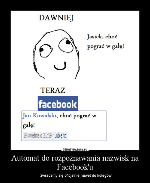 Automat do rozpoznawania nazwisk na Facebook'u