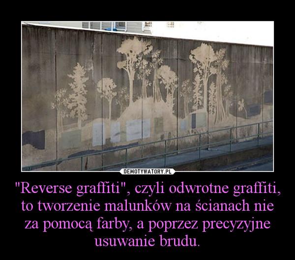 """""""Reverse graffiti"""", czyli odwrotne graffiti, to tworzenie malunków na ścianach nie za pomocą farby, a poprzez precyzyjne usuwanie brudu. –"""