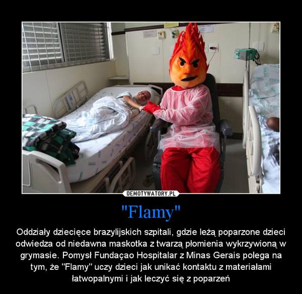"""""""Flamy"""" – Oddziały dziecięce brazylijskich szpitali, gdzie leżą poparzone dzieci odwiedza od niedawna maskotka z twarzą płomienia wykrzywioną w grymasie. Pomysł Fundaçao Hospitalar z Minas Gerais polega na tym, że """"Flamy"""" uczy dzieci jak unikać kontaktu z materiałami łatwopalnymi i jak leczyć się z poparzeń"""