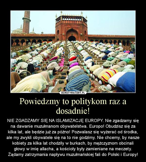 Powiedzmy to politykom raz a dosadnie! – NIE ZGADZAMY SIĘ NA ISLAMIZACJĘ EUROPY. Nie zgadzamy się na dawanie muzułmanom obywatelstwa. Europo! Obudzisz się za kilka lat, ale będzie już za późno! Pozwalasz się wyżerać od środka, ale my zwykli obywatele się na to nie godzimy. Nie chcemy, by nasze kobiety za kilka lat chodziły w burkach, by mężczyznom obcinali głowy w imię allacha, a kościoły były zamieniane na meczety. Żądamy zatrzymania napływu muzułmańskiej fali do Polski i Europy!