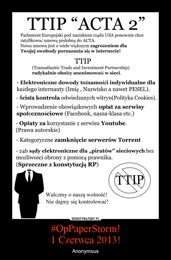 #OpPaperStorm!1 Czerwca 2013! – Anonymous