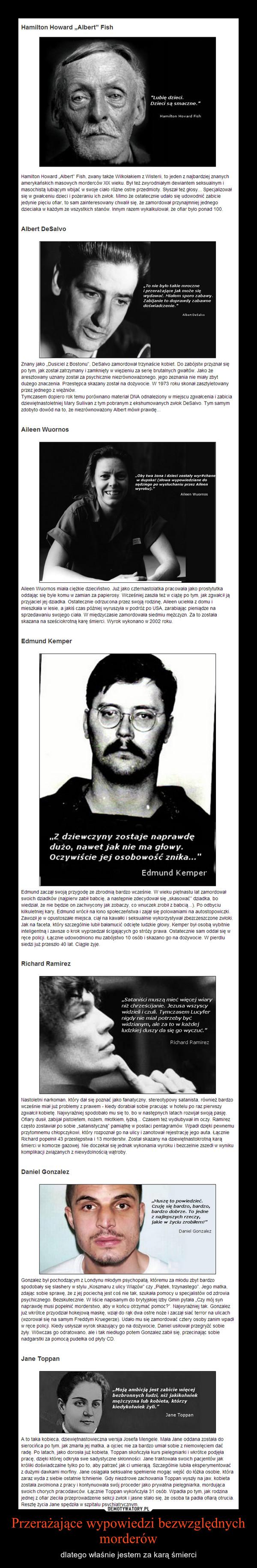 Przerażające wypowiedzi bezwzględnych morderów – dlatego właśnie jestem za karą śmierci