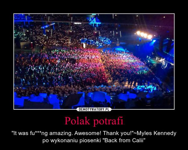 "Polak potrafi – ""It was fu***ng amazing. Awesome! Thank you!""~Myles Kennedy po wykonaniu piosenki ""Back from Calii"""