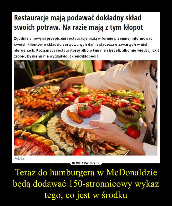 Teraz do hamburgera w McDonaldzie będą dodawać 150-stronnicowy wykaz tego, co jest w środku –