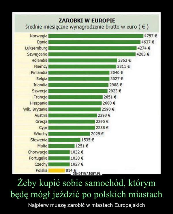 Żeby kupić sobie samochód, którym będę mógł jeździć po polskich miastach – Najpierw muszę zarobić w miastach Europejskich