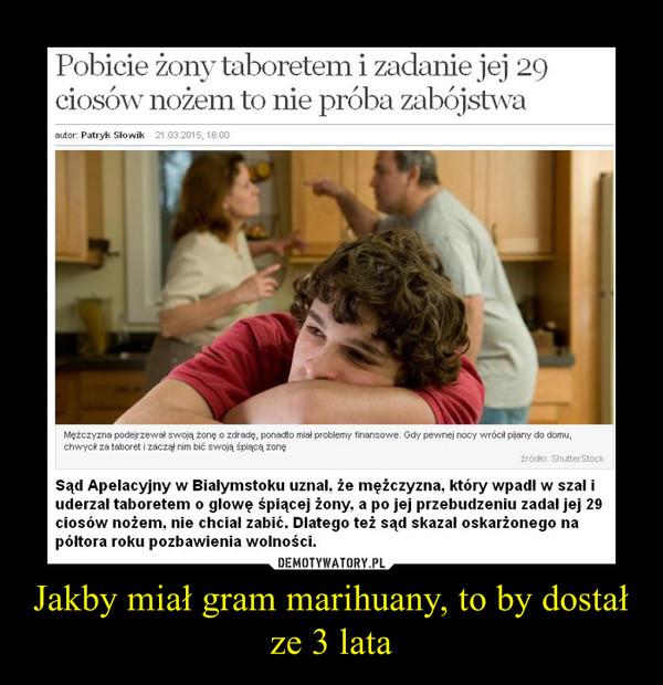 Jakby miał gram marihuany, to by dostał ze 3 lata –