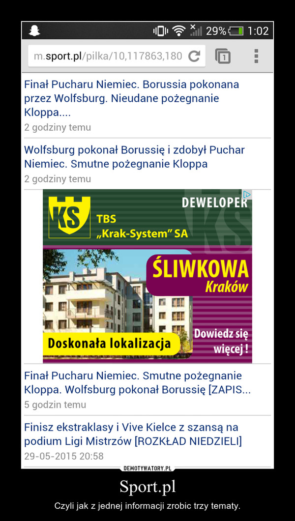 Sport.pl – Czyli jak z jednej informacji zrobic trzy tematy.