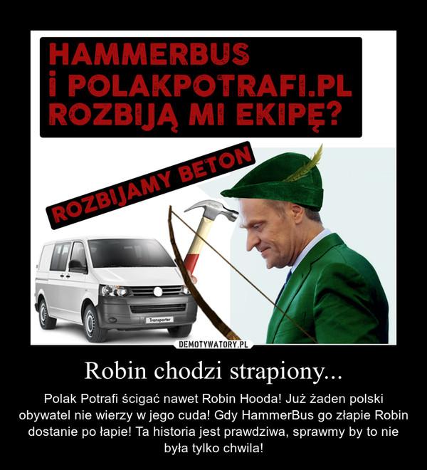 Robin chodzi strapiony... – Polak Potrafi ścigać nawet Robin Hooda! Już żaden polski obywatel nie wierzy w jego cuda! Gdy HammerBus go złapie Robin dostanie po łapie! Ta historia jest prawdziwa, sprawmy by to nie była tylko chwila!