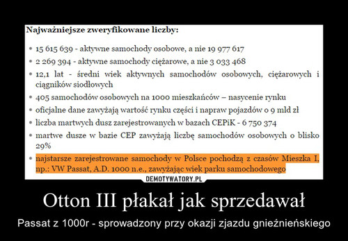 Otton III płakał jak sprzedawał