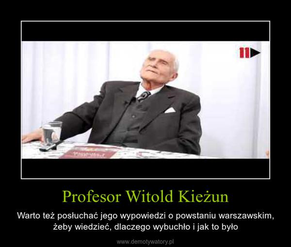 Profesor Witold Kieżun – Warto też posłuchać jego wypowiedzi o powstaniu warszawskim, żeby wiedzieć, dlaczego wybuchło i jak to było