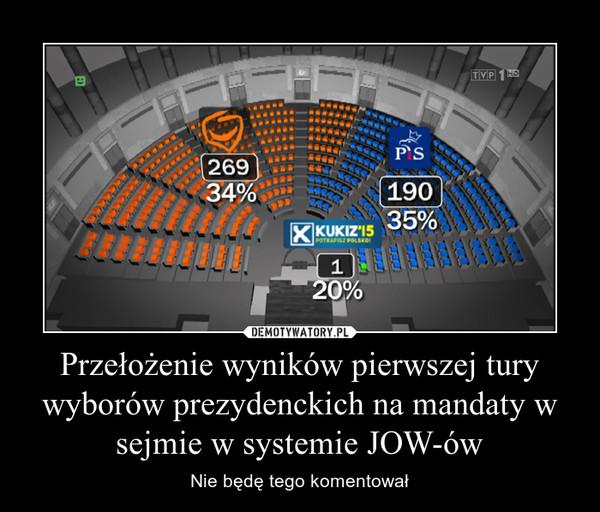 Przełożenie wyników pierwszej tury wyborów prezydenckich na mandaty w sejmie w systemie JOW-ów – Nie będę tego komentował