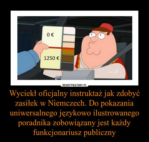 Wyciekł oficjalny instruktaż jak zdobyć zasiłek w Niemczech. Do pokazania uniwersalnego językowo ilustrowanego poradnika zobowiązany jest każdy funkcjonariusz publiczny –