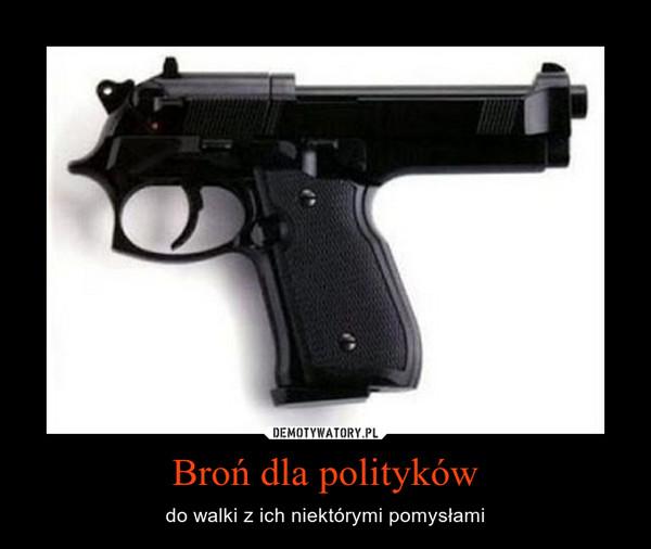 Broń dla polityków – do walki z ich niektórymi pomysłami