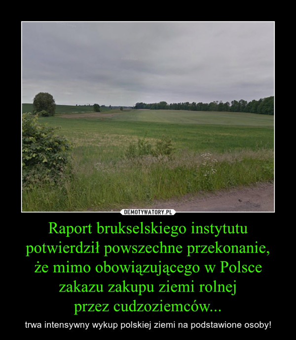 Raport brukselskiego instytutu potwierdził powszechne przekonanie,że mimo obowiązującego w Polsce zakazu zakupu ziemi rolnejprzez cudzoziemców... – trwa intensywny wykup polskiej ziemi na podstawione osoby!