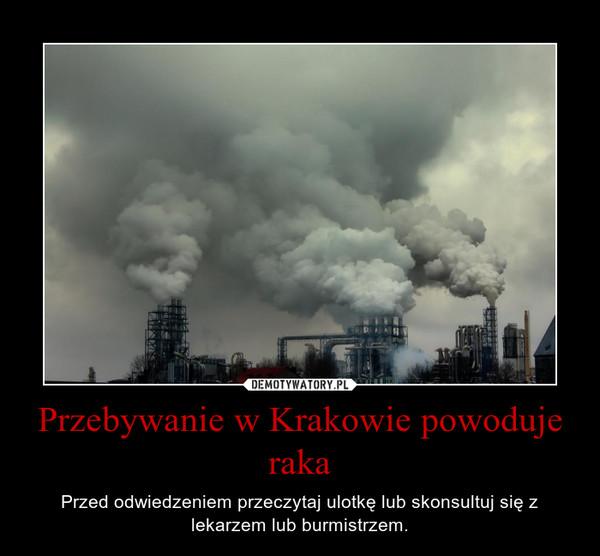 Przebywanie w Krakowie powoduje raka – Przed odwiedzeniem przeczytaj ulotkę lub skonsultuj się z lekarzem lub burmistrzem.