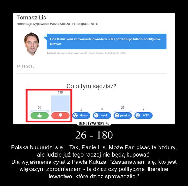 """26 - 180 – Polska buuuudzi się... Tak, Panie Lis. Może Pan pisać te bzdury, ale ludzie już tego raczej nie będą kupować.Dla wyjaśnienia cytat z Pawła Kukiza: """"Zastanawiam się, kto jest większym zbrodniarzem - ta dzicz czy polityczne liberalne lewactwo, które dzicz sprowadziło."""""""