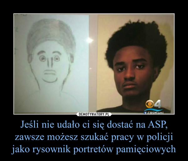 Jeśli nie udało ci się dostać na ASP, zawsze możesz szukać pracy w policji jako rysownik portretów pamięciowych –