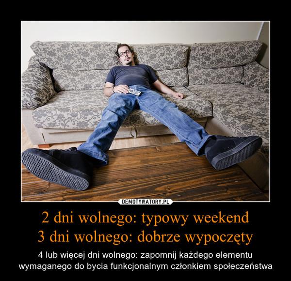 2 dni wolnego: typowy weekend3 dni wolnego: dobrze wypoczęty – 4 lub więcej dni wolnego: zapomnij każdego elementu wymaganego do bycia funkcjonalnym członkiem społeczeństwa