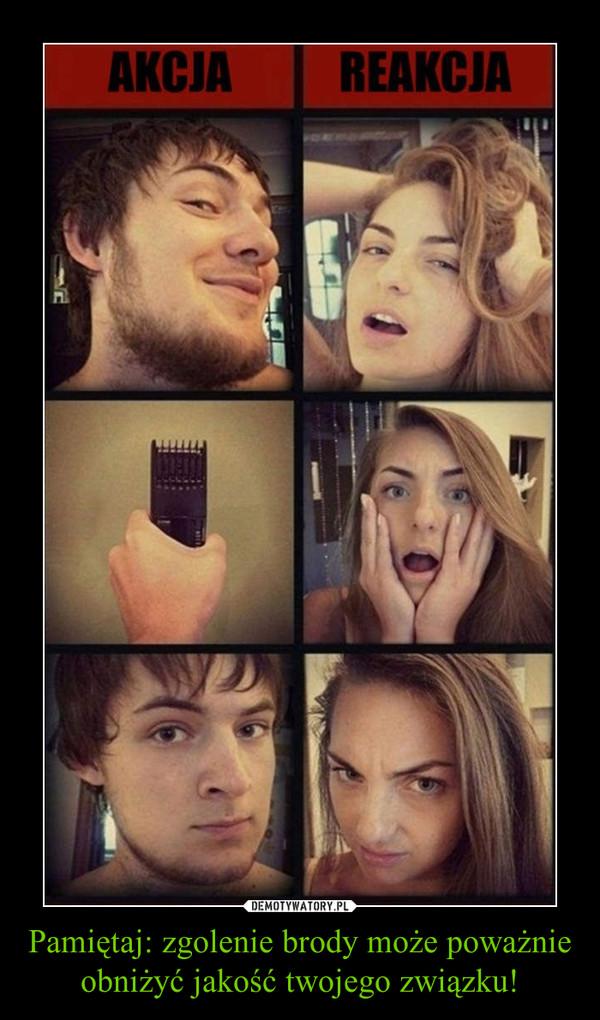 Pamiętaj: zgolenie brody może poważnie obniżyć jakość twojego związku! –  AKCJA REAKCJA