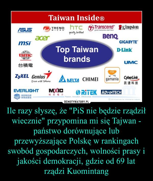 """Ile razy słyszę, że """"PiS nie będzie rządził wiecznie"""" przypomina mi się Tajwan - państwo dorównujące lub przewyższające Polskę w rankingach swobód gospodarczych, wolności prasy i jakości demokracji, gdzie od 69 lat rządzi Kuomintang –"""