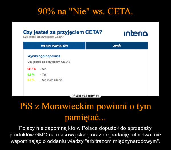 """PiS z Morawieckim powinni o tym pamiętać... – Polacy nie zapomną kto w Polsce dopuścił do sprzedaży produktów GMO na masową skalę oraz degradację rolnictwa, nie wspominając o oddaniu władzy """"arbitrażom międzynarodowym""""."""