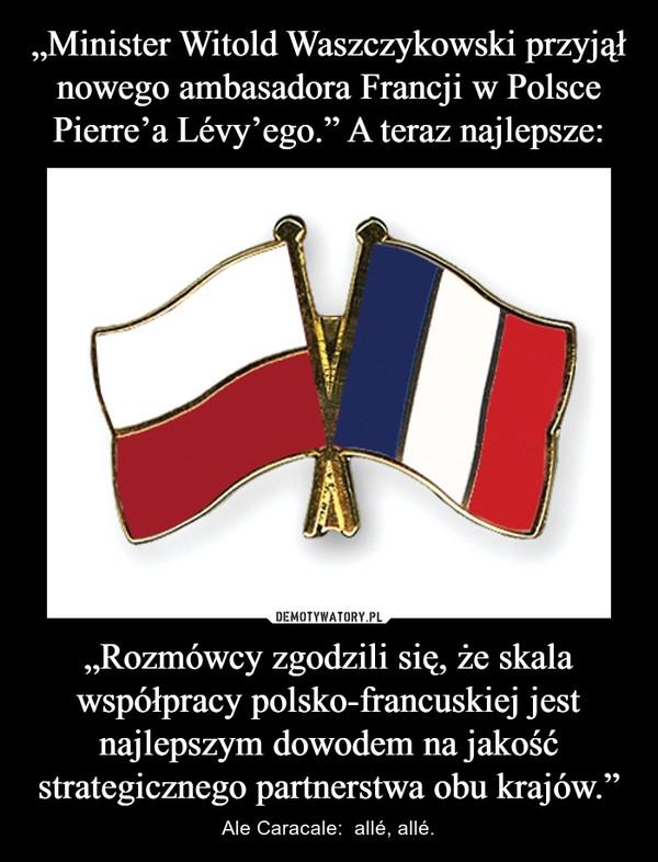 """""""Rozmówcy zgodzili się, że skala współpracy polsko-francuskiej jest najlepszym dowodem na jakość strategicznego partnerstwa obu krajów."""" – Ale Caracale:  allé, allé."""
