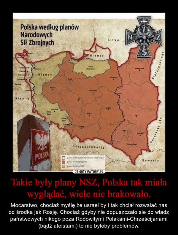 Takie były plany NSZ, Polska tak miała wyglądać, wiele nie brakowało. – Mocarstwo, chociaż myślę że usrael by i tak chciał rozwalać nas od środka jak Rosję. Chociaż gdyby nie dopuszczało sie do władz państwowych nikogo poza Rodowitymi Polakami-Chrześcijanami (bądź ateistami) to nie byłoby problemów.