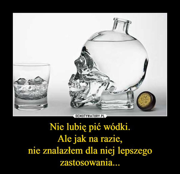 Nie lubię pić wódki.Ale jak na razie,nie znalazłem dla niej lepszego zastosowania... –