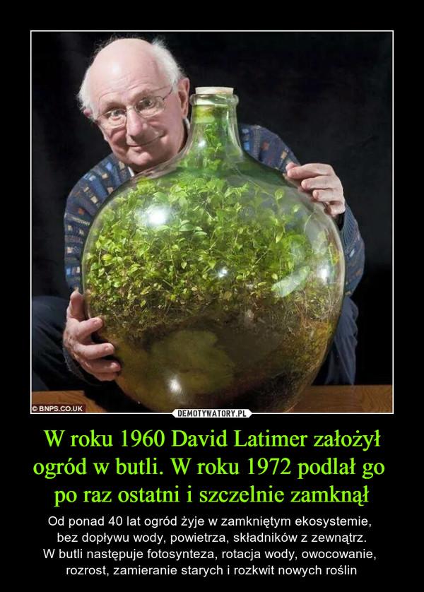 W roku 1960 David Latimer założył ogród w butli. W roku 1972 podlał go po raz ostatni i szczelnie zamknął – Od ponad 40 lat ogród żyje w zamkniętym ekosystemie, bez dopływu wody, powietrza, składników z zewnątrz.W butli następuje fotosynteza, rotacja wody, owocowanie, rozrost, zamieranie starych i rozkwit nowych roślin