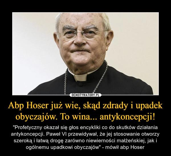 """Abp Hoser już wie, skąd zdrady i upadek obyczajów. To wina... antykoncepcji! – """"Profetyczny okazał się głos encykliki co do skutków działania antykoncepcji. Paweł VI przewidywał, że jej stosowanie otworzy szeroką i łatwą drogę zarówno niewierności małżeńskiej, jak i ogólnemu upadkowi obyczajów"""" - mówił abp Hoser"""