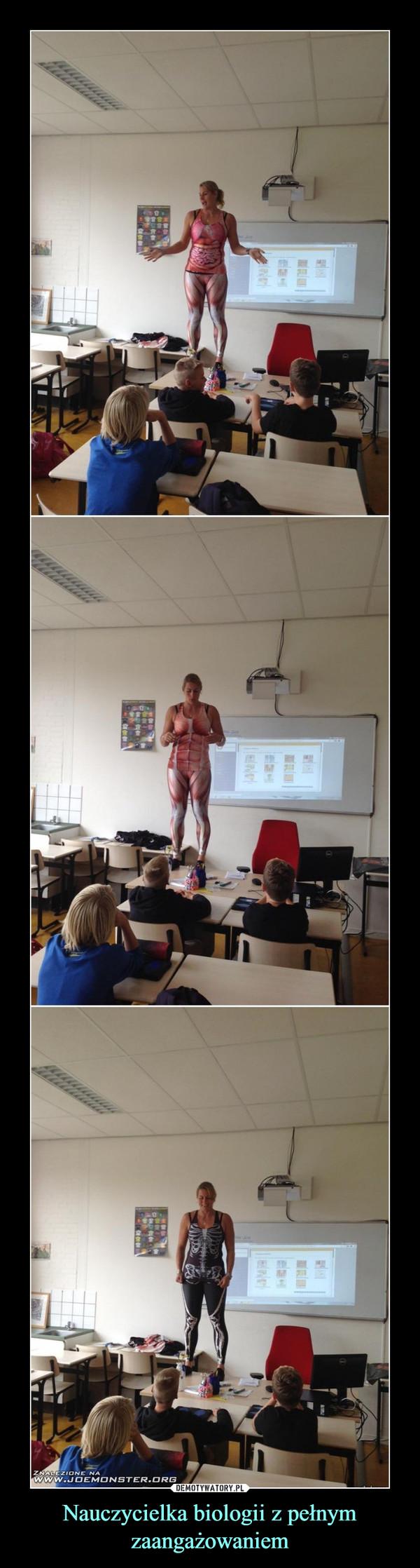 Nauczycielka biologii z pełnym zaangażowaniem –