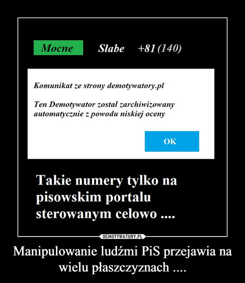 Manipulowanie ludźmi PiS przejawia na wielu płaszczyznach ....