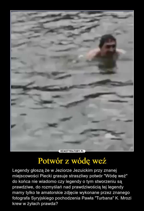 """Potwór z wódę weź – Legendy głoszą że w Jeziorze Jezuickim przy znanej miejscowości Piecki grasuje straszliwy potwór """"Wódę weź"""" do końca nie wiadomo czy legendy o tym stworzeniu są prawdziwe, do rozmyślań nad prawdziwością tej legendy mamy tylko te amatorskie zdjęcie wykonane przez znanego fotografa Syryjskiego pochodzenia Pawła """"Turbana"""" K. Mrozi krew w żyłach prawda?"""