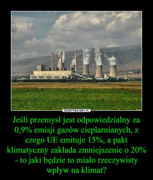 Jeśli przemysł jest odpowiedzialny za 0,9% emisji gazów cieplarnianych, z czego UE emituje 15%, a pakt klimatyczny zakłada zmniejszenie o 20% - to jaki będzie to miało rzeczywisty wpływ na klimat? –