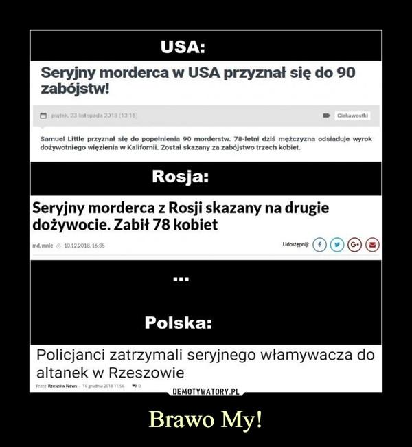 Brawo My! –  USA Seryjny morderca w USA przyznał się do 90 zabójstw Rosja: seryjny morderca z Rosji skazany na drugie dożywocie. Zabił 78 kobiet Polska: Policjanci zatrzymali seryjnego włamywacza do altanek w Rzeszowie