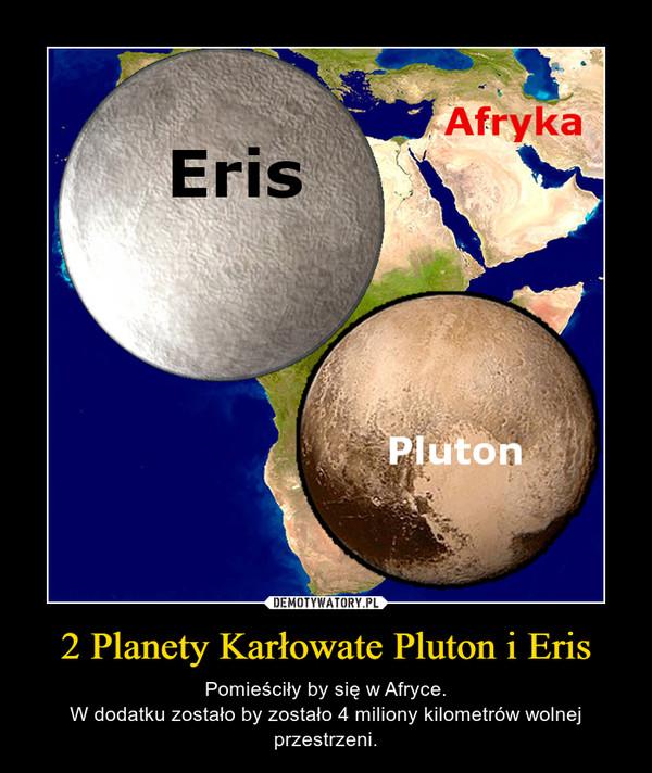 2 Planety Karłowate Pluton i Eris – Pomieściły by się w Afryce.W dodatku zostało by zostało 4 miliony kilometrów wolnej przestrzeni.
