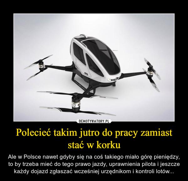 Polecieć takim jutro do pracy zamiast stać w korku – Ale w Polsce nawet gdyby się na coś takiego miało górę pieniędzy, to by trzeba mieć do tego prawo jazdy, uprawnienia pilota i jeszcze każdy dojazd zgłaszaćwcześniej urzędnikom i kontroli lotów...