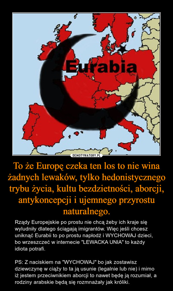"""To że Europę czeka ten los to nie wina żadnych lewaków, tylko hedonistycznego trybu życia, kultu bezdzietności, aborcji, antykoncepcji i ujemnego przyrostu naturalnego. – Rządy Europejskie po prostu nie chcą żeby ich kraje się wyludniły dlatego ściągają imigrantów. Więc jeśli chcesz uniknąć Eurabii to po prostu napłodź i WYCHOWAJ dzieci, bo wrzeszczeć w internecie """"LEWACKA UNIA"""" to każdy idiota potrafi.PS: Z naciskiem na """"WYCHOWAJ"""" bo jak zostawisz dziewczynę w ciąży to ta ją usunie (legalnie lub nie) i mimo iż jestem przeciwnikiem aborcji to nawet będę ją rozumiał, a rodziny arabskie będą się rozmnażały jak króliki."""