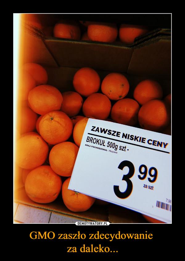 GMO zaszło zdecydowanie za daleko... –