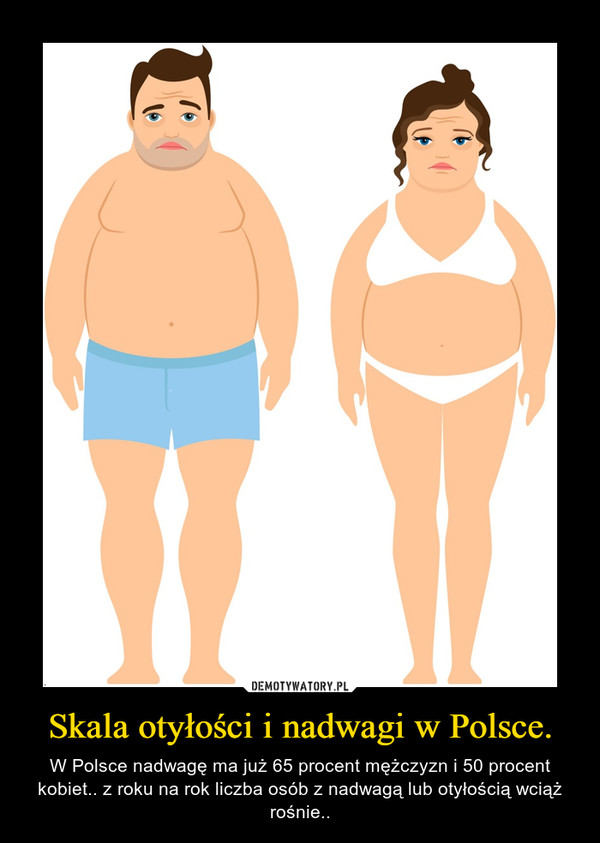 Skala otyłości i nadwagi w Polsce. – W Polsce nadwagę ma już 65 procent mężczyzn i 50 procent kobiet.. z roku na rok liczba osób z nadwagą lub otyłością wciąż rośnie..