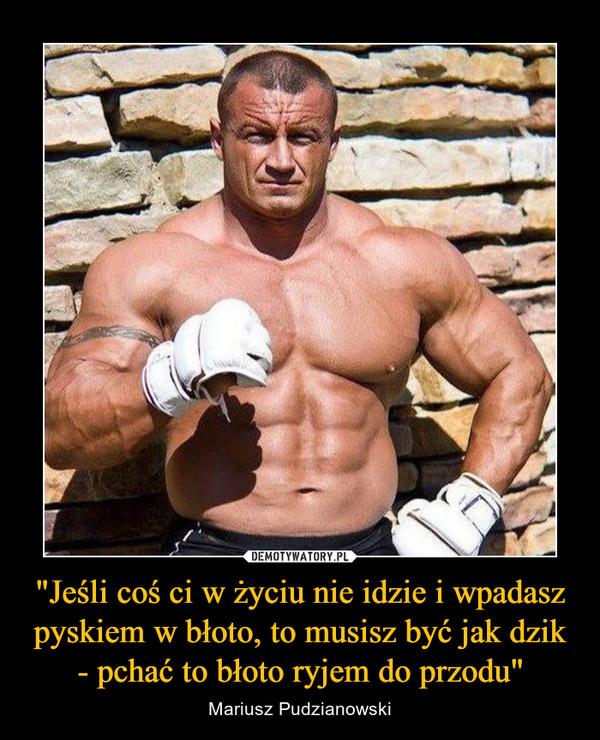 """""""Jeśli coś ci w życiu nie idzie i wpadasz pyskiem w błoto, to musisz być jak dzik- pchać to błoto ryjem do przodu"""" – Mariusz Pudzianowski"""